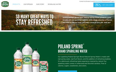 Screenshot of Products Page polandspring.com - Our Products | Poland Spring® Brand Natural Spring Water Products - captured Oct. 18, 2018