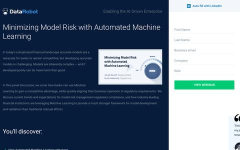 Screenshot of Landing Page datarobot.com - Minimizing Model Risk with Automated Machine Learning - captured Sept. 19, 2018