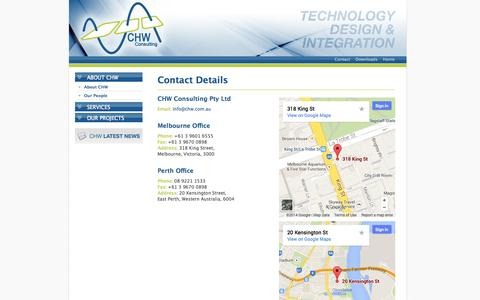 Screenshot of Contact Page chw.com.au - CHW Consulting, Tim Hales, Peter Clynes, Audio Visual, IT - captured Oct. 1, 2014
