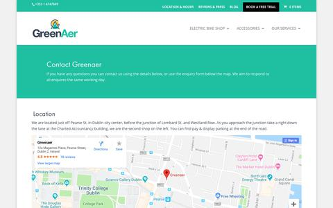 Screenshot of Contact Page greenaer.ie - Greenaer Electric Bicycles Shop - captured Dec. 16, 2018