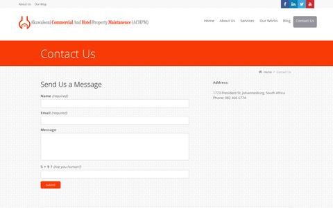 Screenshot of Contact Page akuwaiseni.co.za - Contact Us - captured Oct. 4, 2014