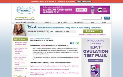 Screenshot of Press Page fertilityauthority.com - FertilityAuthority in the Media - captured Sept. 16, 2014