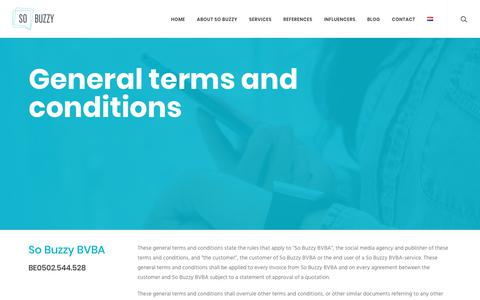 Screenshot of Terms Page sobuzzy.be - General terms and conditions - So Buzzy - captured Oct. 19, 2018