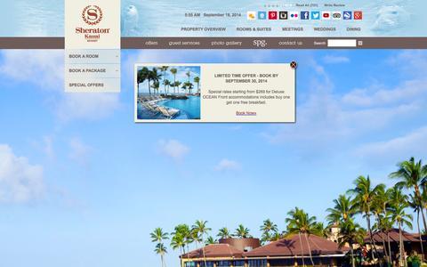 Screenshot of Home Page sheraton-kauai.com - Kauai Hotels on the Beach | Sheraton Kauai Resort |  Kauai Resorts on Poipu Beach - captured Sept. 19, 2014