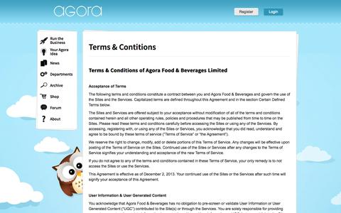 Screenshot of Terms Page myagora.co.uk - Terms & Contitions – Agora puts you in the shoes of the CEO - captured Oct. 4, 2014