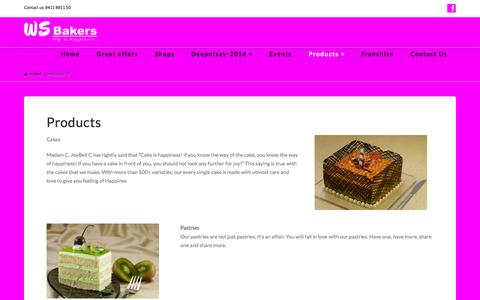 Screenshot of Products Page wsbakers.com - Products - WS Bakers - captured Nov. 2, 2014