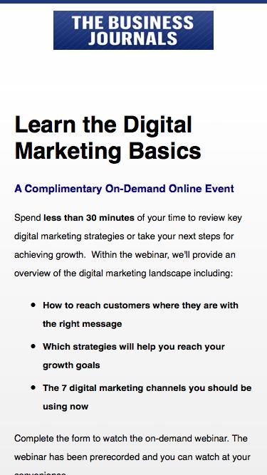 Free webinar covering the digital marketing basics