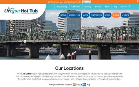 Screenshot of Locations Page oregonhottub.com - Our Locations - Oregon Hot Tub - captured Oct. 18, 2018