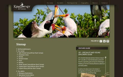 Screenshot of Site Map Page kerdowneybotswana.com - Sitemap Ker & Downey Botswana | Ker & Downey Botswana - Discover Beautiful Botswana with our Luxury Safaris - captured Sept. 30, 2014