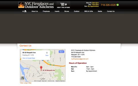 Screenshot of Contact Page nycfireplaces.com - Contact NYC Fireplaces and Outdoor Kitchens - captured Oct. 7, 2014