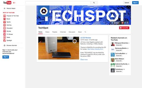 Screenshot of YouTube Page youtube.com - TechSpot  - YouTube - captured Oct. 26, 2014