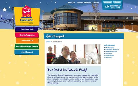 Screenshot of Signup Page hocm.org - Join/Support > Hands On Children's Museum of Olympia - captured Oct. 1, 2014
