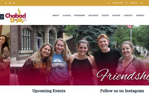 Screenshot of Home Page jewishgopher.com - Chabad at UofM – Your Home Away From Home - captured Sept. 27, 2018