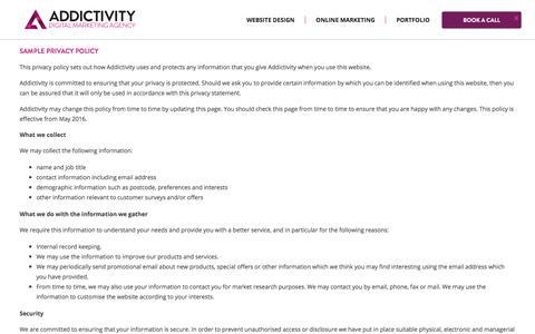 Screenshot of Privacy Page addictivity.com - Professional Website Design Agency | Addictivity - captured July 29, 2018