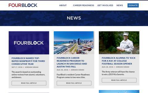 Screenshot of Press Page fourblock.org - News   FourBlock Veteran Career Readiness - captured Oct. 11, 2018