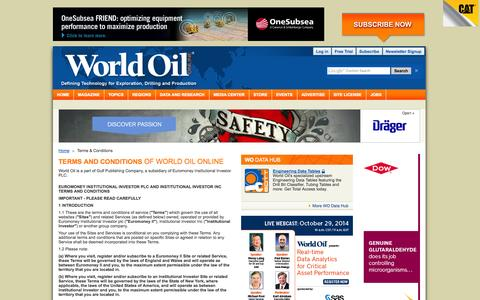 Screenshot of Terms Page worldoil.com - World Oil - Upstream News | Technology | Exploration | Drilling | Production | Statistics | Careers | Events - captured Oct. 26, 2014