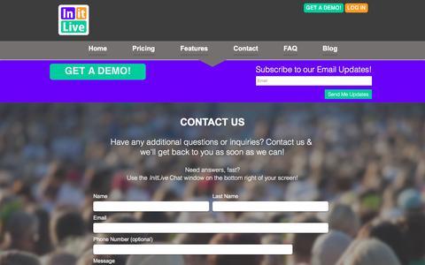 Screenshot of Contact Page initlive.com - InitLive  | Contact Us - captured Feb. 11, 2016