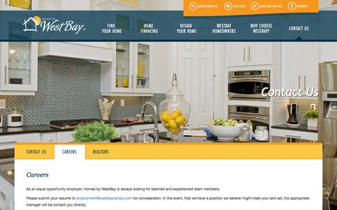 Screenshot of Jobs Page homesbywestbay.com - Westbay Realtor Contact - captured Oct. 30, 2014