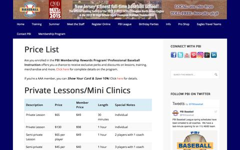 Screenshot of Pricing Page baseballclinics.com - Price List - Professional Baseball Instruction - captured April 6, 2017