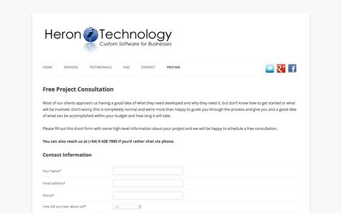 Screenshot of Pricing Page herontechnology.co.nz - Free Project Consultation - captured Dec. 10, 2015