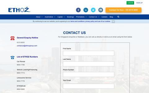 Screenshot of Contact Page ethozgroup.com - Contact Us - ETHOZ - captured Sept. 26, 2018