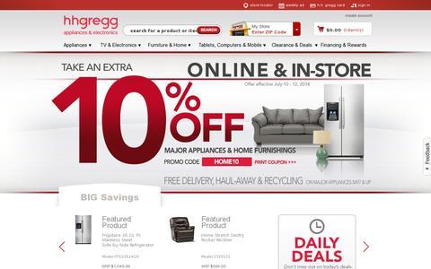 Screenshot of Home Page hhgregg.com - Home Appliances & Consumer Electronics | hhgregg - captured July 11, 2014