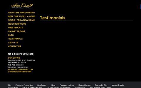 Screenshot of Testimonials Page coastalhomespecialists.com - Testimonials Archive - Seacoast - captured Sept. 29, 2015