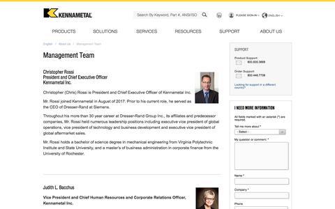 Screenshot of Team Page kennametal.com - Management Team - captured March 10, 2018