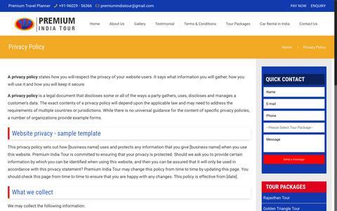 Screenshot of Privacy Page premiumindiatour.com - Privacy Policy | Premium India Tour - captured Nov. 11, 2018