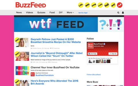 Screenshot of buzzfeed.com - WTF Feed (wtf) on BuzzFeed - captured March 19, 2016