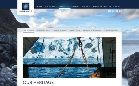 Screenshot of About Page rimfrostkrill.com - Our heritage - Rimfrost Krill - captured Nov. 1, 2014