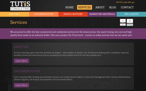 Screenshot of Services Page tutis.com.au - Services for Architects, Builders, Real Estate Agents and Home Owners. - captured Oct. 9, 2014