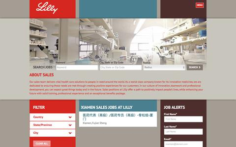 Screenshot of Jobs Page lilly.com - Xiamen Sales Jobs at Lilly - captured Aug. 7, 2017