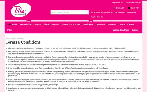 Screenshot of Terms Page tilia.in - Terms & Conditions | Tilia - captured Dec. 18, 2016