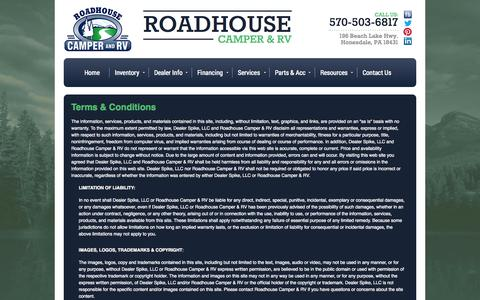 Screenshot of Terms Page roadhousecamper.com - Terms | Roadhouse Camper & RV | Honesdale Pennsylvania - captured Oct. 26, 2014