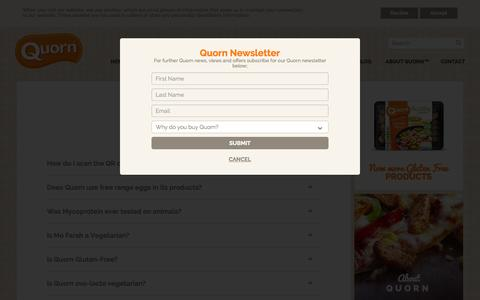 Screenshot of FAQ Page quorn.co.uk - FAQs - Frequently Asked Questions About Quorn - captured Oct. 2, 2015