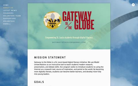 Screenshot of About Page gatewayglobe.org - About Us — Gateway to the Globe - captured Oct. 2, 2014