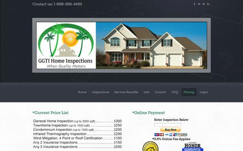 Screenshot of Pricing Page ggtisolutions.com - Jupiter Home Inspector,Palm Beach Home Inspector,Stuart Home Inspector, - GGTI Home Inspection Services - captured Oct. 1, 2014
