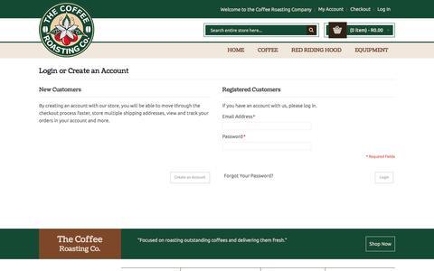 Screenshot of Login Page coffeecompany.co.za - Customer Login - captured Nov. 8, 2016