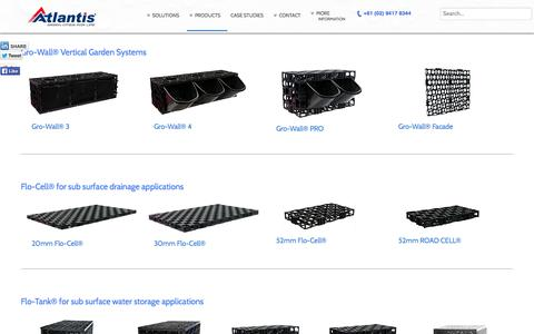 Screenshot of Products Page atlantiscorp.com.au - Atlantis Products - Vertical Gardens - Roof Gardens - Water Management and Drainage - captured Oct. 4, 2014