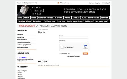 Screenshot of Login Page mybestfriendisabag.com.au - My account - Ladies Leather Laptop Bags, Business Tote Bags   My Best Friend Is A Bag   Leather Shopper Bags - captured Oct. 19, 2018
