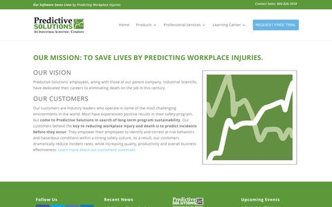 Screenshot of About Page predictivesolutions.com - Our Mission: To save lives by predicting workplace injuries. - Predictive Solutions - captured Jan. 16, 2018