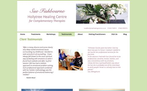 Screenshot of Testimonials Page hollytreehealing.co.uk - hollytreehealing | Testimonials - captured May 5, 2017