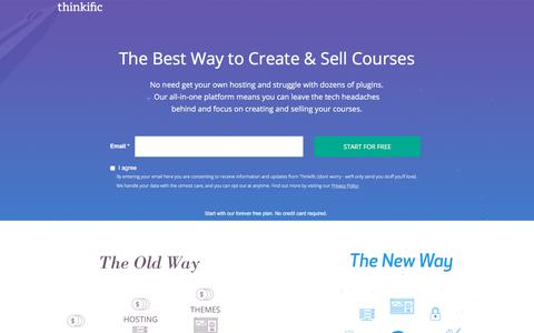 Screenshot of Landing Page thinkific.com - The best way to sell courses - Thinkific - captured Sept. 19, 2018