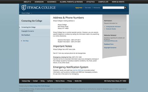 Screenshot of Contact Page ithaca.edu - Contacting the College - Ithaca College - captured Oct. 15, 2017