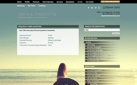 Screenshot of FAQ Page johndaviscpa.com - Frequently Asked Questions Bonita Springs, FL CPA /Fort Myers CPA/Cape Coral CPA/Leesburg CPA/Davis & Associates - captured Feb. 8, 2016