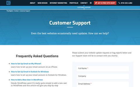 Screenshot of Support Page theedigital.com - Contact Support at TheeDigital Agency - TheeDigital - captured Jan. 18, 2019