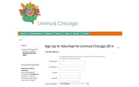 Screenshot of Signup Page limmudchicago.org - Sign Up to Volunteer for Limmud Chicago 2014 | Limmud Chicago - captured Oct. 28, 2014