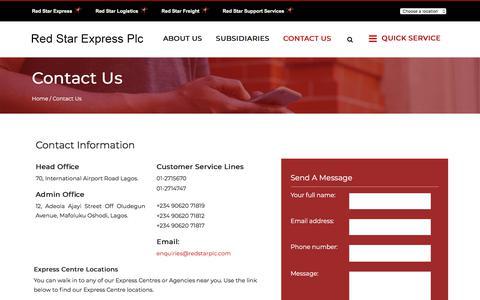 Screenshot of Contact Page redstarplc.com - Contact Us - Red Star Express Plc - captured Jan. 7, 2018