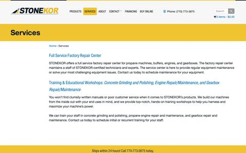 Screenshot of Services Page stonekor.com - STONEKOR Full Service Repair For Propane Equipment - captured Nov. 5, 2018
